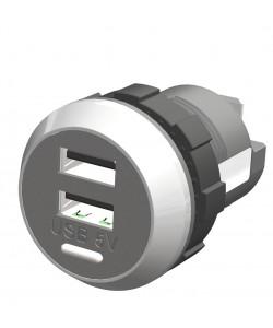 Chargeur USB IP65 DOUBLE 12/24 (Paroi)